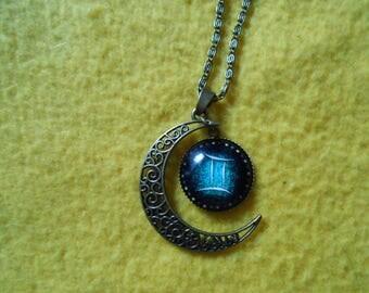 Cresent moon Gemini zodiac necklace