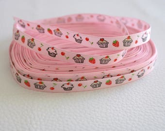 50 cm of Ribbon cakes cupcakes pink 10mm