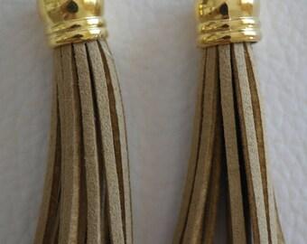 Set of 2 tassels, dark beige suede and Golden Bell 6 cm