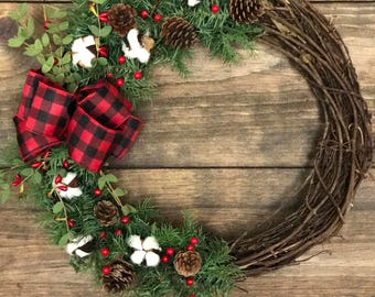 CHRISTMAS COTTON BLOSSOM Wreath. Cotton blossoms, buffalo plaid bow, pine accents, berry accents, pine cones, trendy