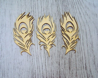 Set of 3 feathers Peacock 1324 embellishment wooden creations