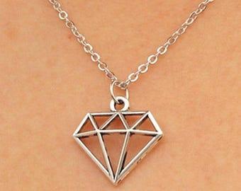 Silver Diamond Shaped Pendant Necklace