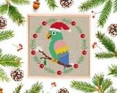 PDF DOWNLOAD: Christmas bird #4 cross stitch pattern, Modern Cross Stitch Pattern, Christmas Cross Stitch Pattern, Instant Download PDF
