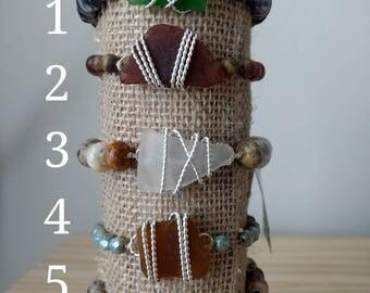7.0 Inches-Stretch Bracelet-Beaded Bracelet-Sea Glass Bracelet-Silver Bracelet-Sea Glass Jewelry