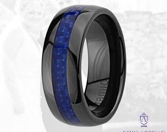 Thin Blue Line Ceramic Wedding Band