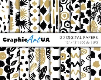 Hand Drawn Digital Paper Pack, Seamless digital paper, Scrapbook Paper, Seamless pattern, Instant Download