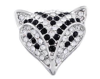 x 1 Fox rhinestone black/white (jewelry) snap button silver metal 22 x 23.5 mm