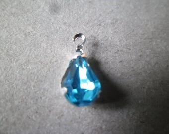 1 x 13 x 6 mm blue rhinestone drop
