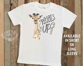 What's Up Giraffe Kids Shirt, Giraffe Kids Shirt, Zoo Animals Shirt, Hipster Kids Shirt, Boho Kids Shirt, Funny Kids Shirt - T152W
