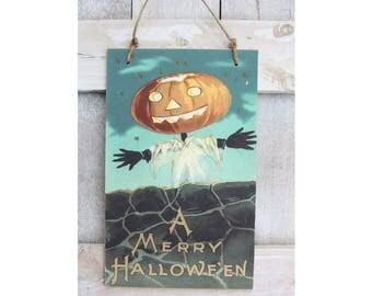Vintage Halloween Pumpkin Scarecrow Hanging Wood Sign Wall Decor
