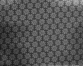 Printed cotton fabric patterns flowers 1 cm on taupe background