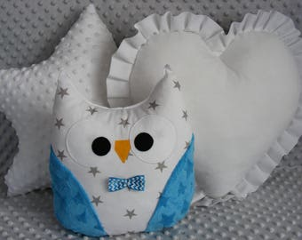 3 PCS SET star,owl,heart, cushions,pillow,pink,gray,blue,mint,baby,girl,boy,cute,gift,gift idea,birthday,kids room,