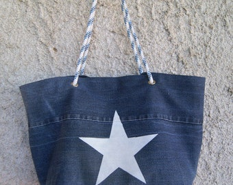Rope handles and recycled denim tote bag