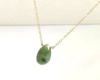 Emerald Necklace 14 k gold