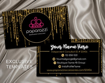 Paparazzi Business Cards, Paparazzi Jewelry Consultant Card, Black /Gold, Home Office Approved, Gold Glitter Card, PBCG1