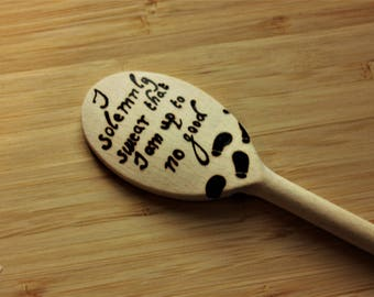 I solemnly swear that I am up to no good, HP Solid Wooden Spoon-  Magical wands, Geek gift, Housewarming, Fandom inspired, wizarding world