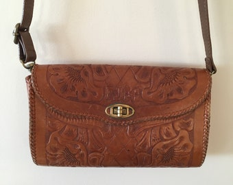 Tooled Brown Leather Bag