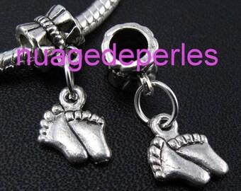 2 Tibetan silver bail foot pendant charms