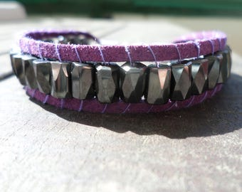 Men's bracelet in leather and Hematite (with magnetite)