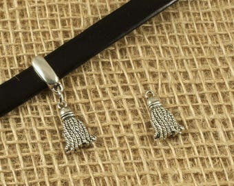 x 2 PCs - shape tassel charm - pendant - silver plated brass – (without the leather
