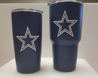 30oz Dallas Cowboys YETI RAMBLER football season Dallas decal