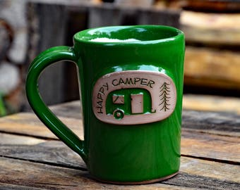 Happy Camper Handmade Stoneware Pottery Mug
