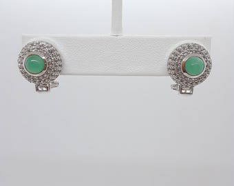 Emerald with White Topaz Round/Baguette