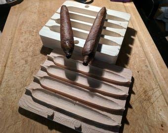Custom carved wood cigar molds for home cigar rolling