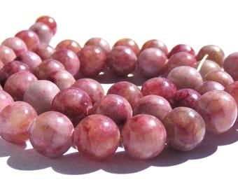 8 jades de 8 mm perles pierre rose multicolore.