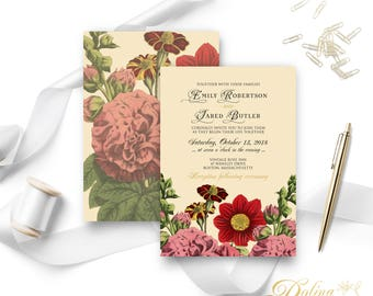 Fall Flowers Wedding Invitation Rustic Wedding Printable Floral Invitation Beige Hollyhock Outdoor Wedding Invitation Template Editable PDF