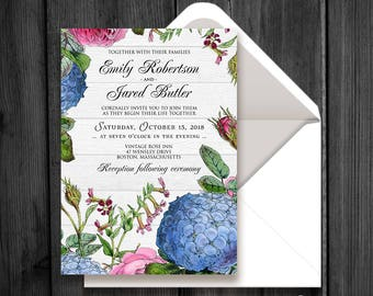Rustic Floral Wedding Invitation Outdoor Spring Fall Wedding Invitation Printable Hydrangea and Roses Wood Invite Garden Invitation Template