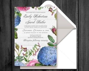 Rustic Floral Wedding Invitation Outdoor Spring Fall Wedding Invitation Printable Hydrangea and Roses Wood Invite Garden Invitation Template