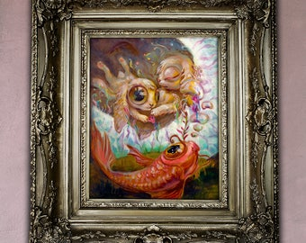8x10 Instant Download Art Print Fantasy Surreal Bunny , easter gift