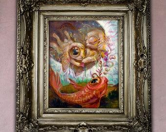 8x10 Instant Download Art Print Fantasy Surreal Bunny , easter gift easter sale surreal art