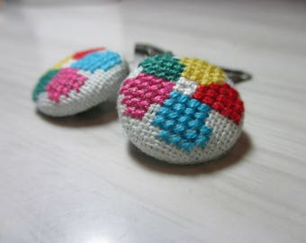 """Duo hair clip-embroidered """"Multicolored flower"""""""