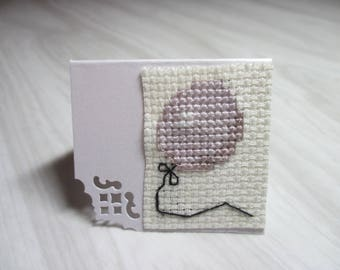 """Mini card brand embroidered place """"Balloon ash rose"""""""