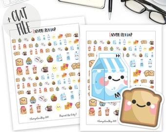 Printable Breakfast Stickers, Food Planner Stickers, Functional Stickers, Kawaii Stickers, Planner Stickers, Bullet Journal Sticker