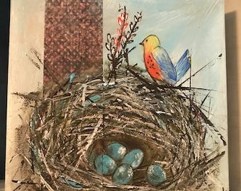 Orange Bird Blue Eggs Bird Nest 8x8 Acrylic Canvas Painting