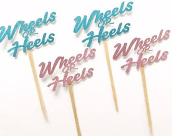 Wheels or Heels Cupcake Toppers - Gender Reveal- Decor - Gender Reveal Favor -  Boy or Girl Toppers - Sex Reveal Party- He or She