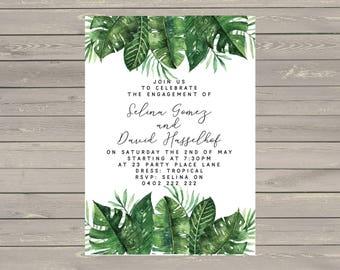 Printable 5x7 Custom Engagement Wedding Invitations Tropical
