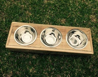 Dog bowl holder, feeding station