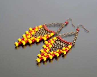 Earrings red and yellow.