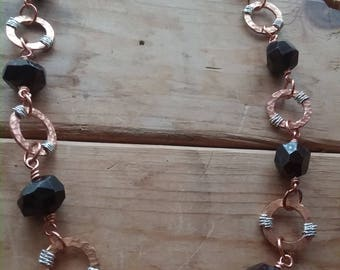 Hammered Copper and Faceted Garnet Nugget Necklace
