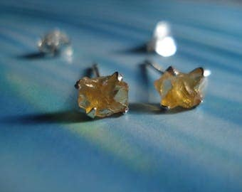 Gorgeous Rough Raw Golden Citrine Earrings KE88