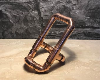 Copper Pipe Mobile Phone Stand/ Holder, rose gold, Iphone, Ipad, Tablet, Samsung, Industrial