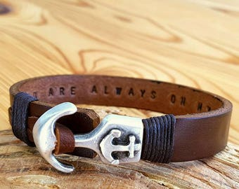 Customized Leather Bracelet Coordinate Bracelet Gift for Mens Leather Bracelet Man Anchor Personalized Bracelet