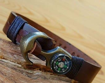 Customized Leather Bracelet Compass Men Leather Bracelet gift for Man Anchor Bracelet Men Personalized Gift