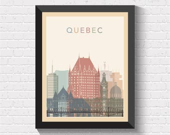 Quebec Skyline, Quebec Print, Quebec Poster, Quebec Wall Art, Quebec Art, Quebec Cityscape, Quebec View, Quebec City, Canada Art, Canada