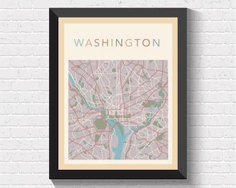 Washington Map, Washington Street Map, Washington City Map, Washington Art, Washington Poster, Washington Map Print, Washington, US, USA