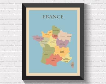France Map, France Print, France Poster, Map of France, France Wall Art, France Map Print, France Art, France Decor, France Art Print